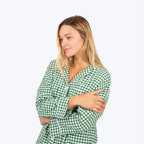 SLEEPY JONES // Marina Pajama Set Large Gingham Green Flannel