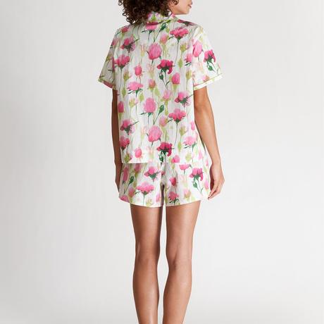 SLEEPY JONES / Corita Set White, Pink & Green Rose Print
