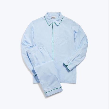 SLEEPY JONES // Henry Pajama Set End on End Blue green piping
