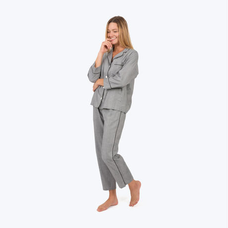 SLEEPY JONES // Marina Pajama Set Glen Plaid Black&White