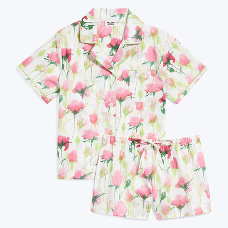 SLEEPY JONES / Corita Set White, Pink & Green Rose Print