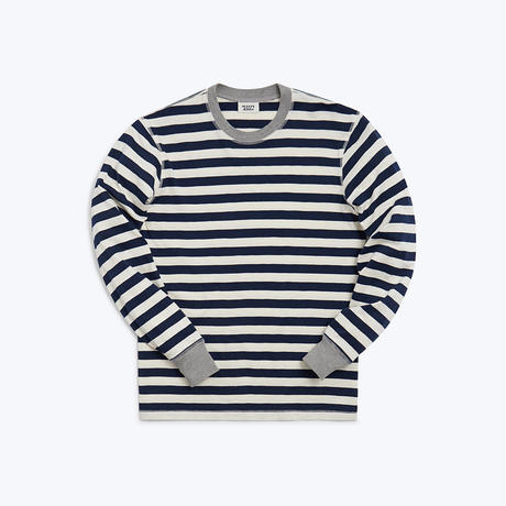 SLEEPY JONES // Keith Long Sleeve Shirt Navy Slub Stripe