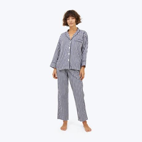 SLEEPY JONES // Marina Pajama Set Large Gingham Navy