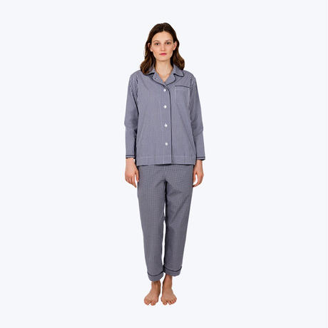 SLEEPY JONES // Bishop Pajama Set Small Gingham Navy