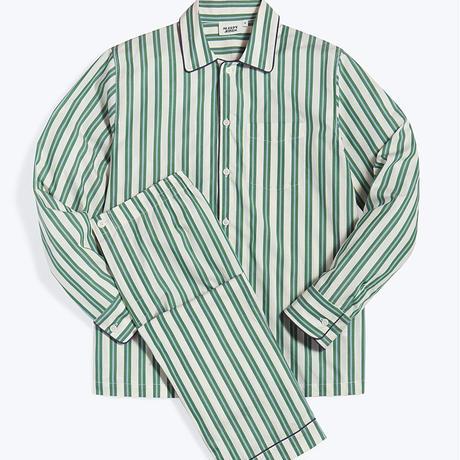 SLEEPY JONES / HENRY PAJAMA SET Cream, Green & Blue Regimental Stripe