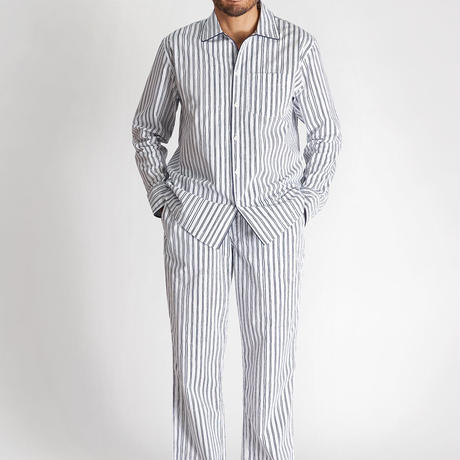 SLEEPY JONES / HENRY PAJAMA SET White & Blue Scribble Stripe