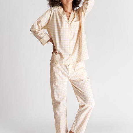 SLEEPY JONES / Marina Pajama Set Pink & Yellow Large Gingham
