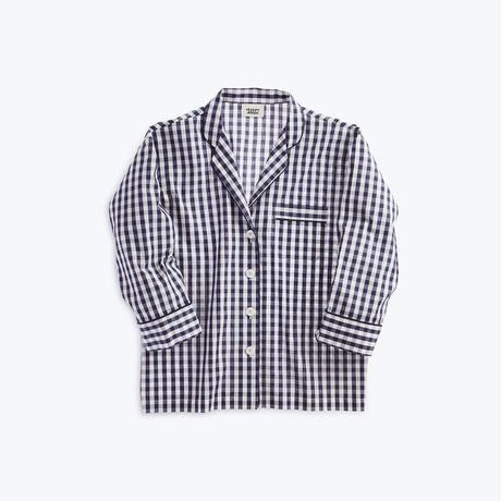 SLEEPY JONES // Marina Pajama Shirt Large Gingham Navy