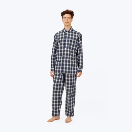 SLEEPY JONES // Lowell Pajama Set Stewart Plaid Green, Blue & White