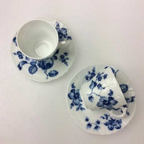 ★9/30までの特別価格★【リチャードジノリ】ローズブルー コーヒーカップ&ソーサー 2客セット