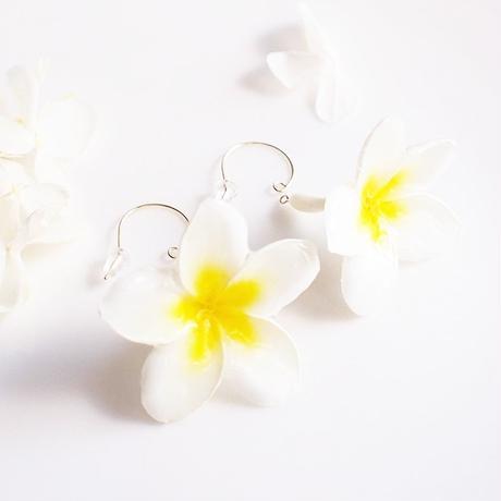 【受注製作】Plumeria Mini. Whole. 本物のお花 小さな まるごとプルメリアの揺れピアス/イヤリング/アレルギー用樹脂ポスト・ゴールドフィルド対応