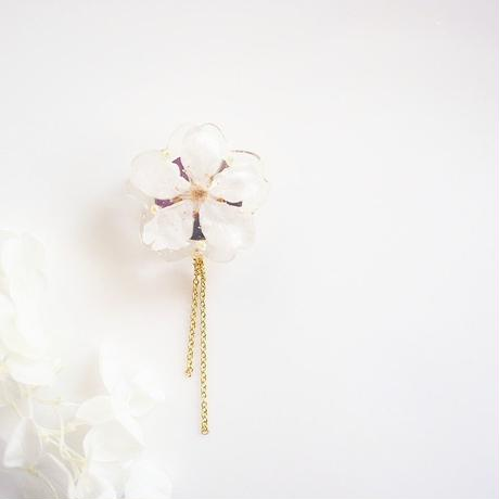 Everpink Sakura. 本物のお花 桜と淡水パールの帯留め 和小物