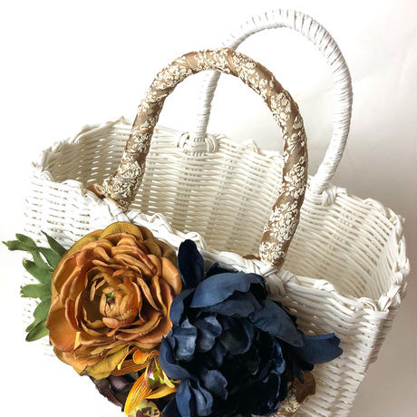 Flower Bag White M    【Navy 】