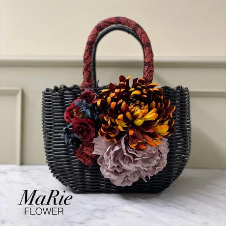 Flower Bag Black M   【月光の菊】