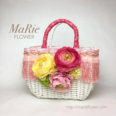Flower Bag White M [FRINGE Pink]