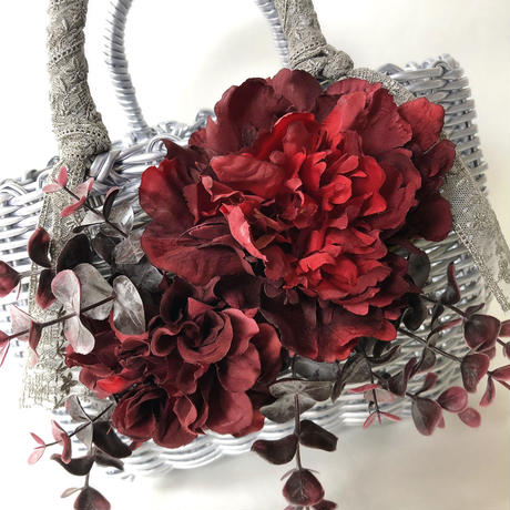 Flower Bag Silver M      ~Antique Red~ .