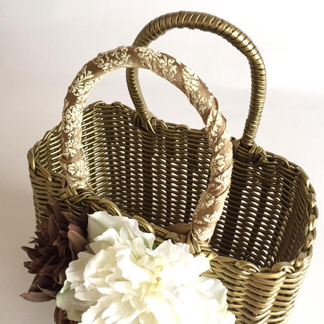 Flower Bag Gold M     【Monstera×Natural】