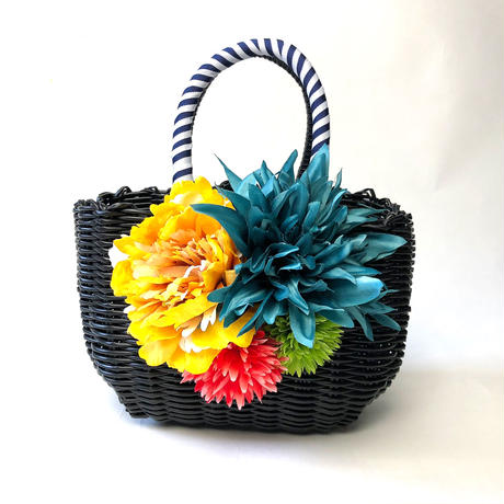 Flower Bag Black /White  M    【tropical】