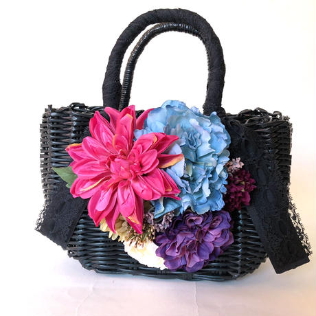 Flower Bag Black M     【 Pink Dahlia ×Blue Peony】