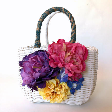 Flower Bag White M     【Purple×Pink Peony 】