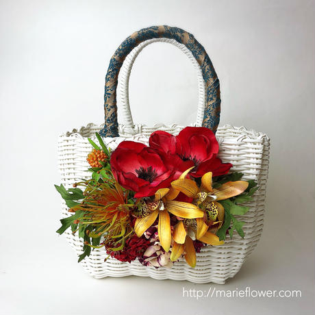 Flower Bag Black / White M     【RED Anemone 】
