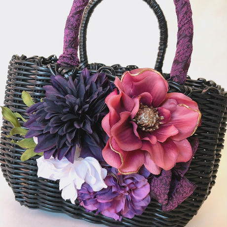 Flower Bag Black M     【 Purple Dahlia ×Anemone】