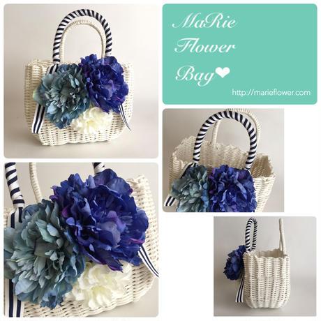 Flower Bag White M     【Blue×White】