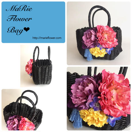 Flower Bag Black  M     【modern】タッセル付き