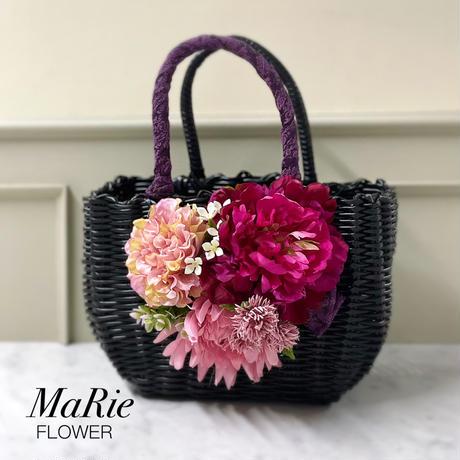 Flower Bag Black M    【raspberry】