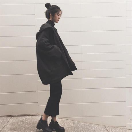 BIGサイズ厚手フードパーカージャケット■lady879