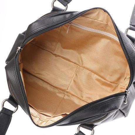 【日本製】オール牛革 本革バッグ 横長ボストンバッグ リアル シュリンクレザー ブラック