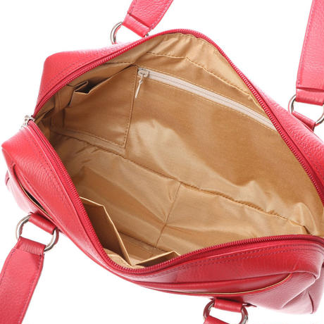 【日本製】オール牛革 本革バッグ 横長ボストンバッグ リアル シュリンクレザー レッド