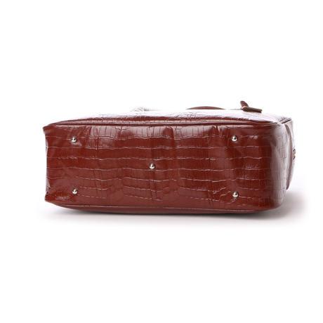 【日本製】人気のスクエアボストン オール牛革 本革バッグ 軽量 クロコ型 ライトブラウン