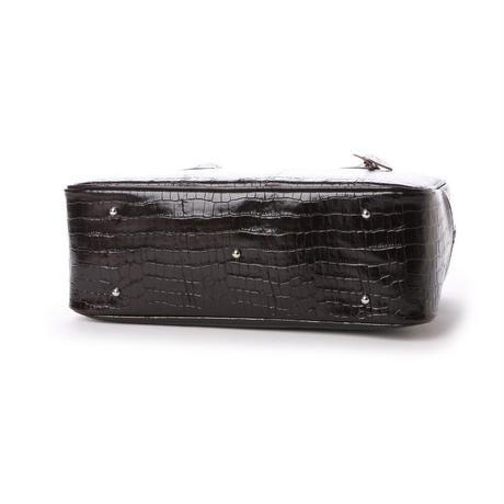 【日本製】人気のスクエアボストン オール牛革 本革バッグ 軽量 クロコ型 ダークブラウン