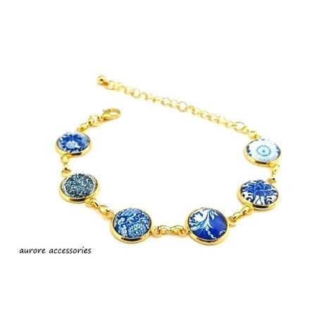 bracelet ブレスレット チェーン ブルー系 フラワー