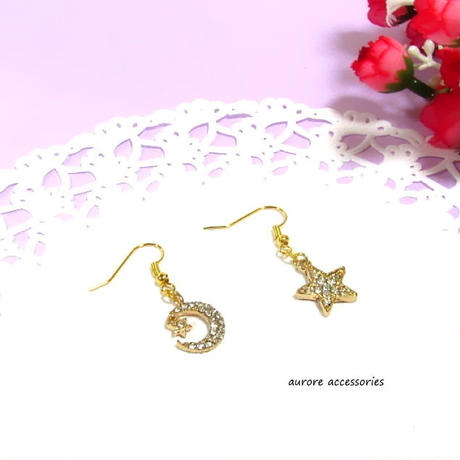 star & moon pierced earrings 星と月のピアス
