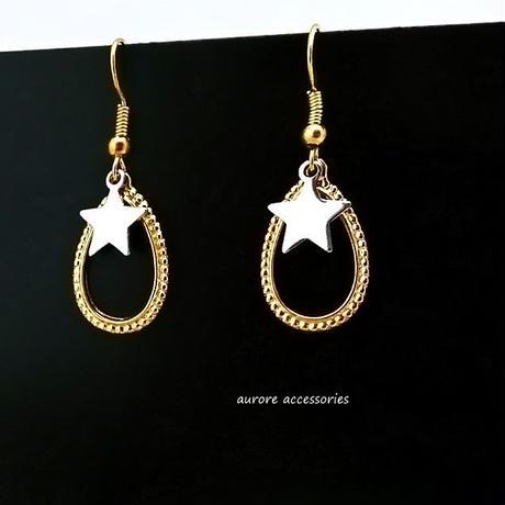 drop pierced earrings ドロップ&星 ピアス