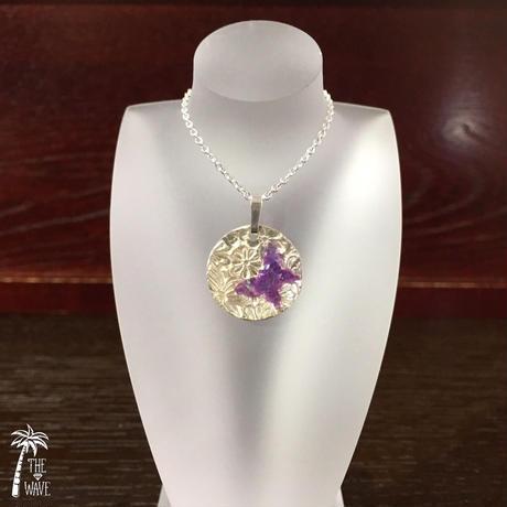 虹色バタフライのsilverネックレス - violet -