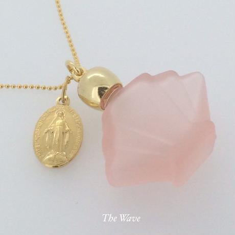 フランスアンティークメダイと香水瓶のネックレス -Pink-