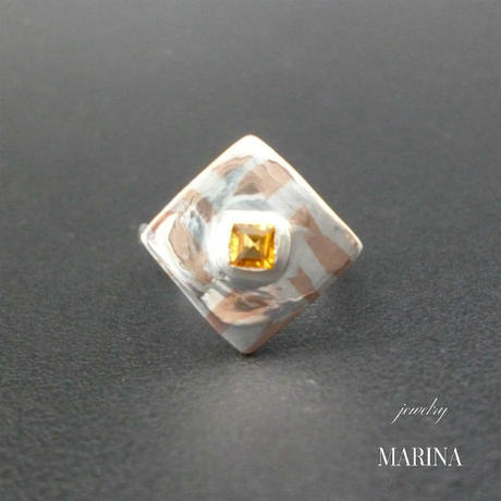 ZEBRA - ring Square citrine