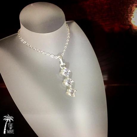 スリーストーンネックレス- silver -