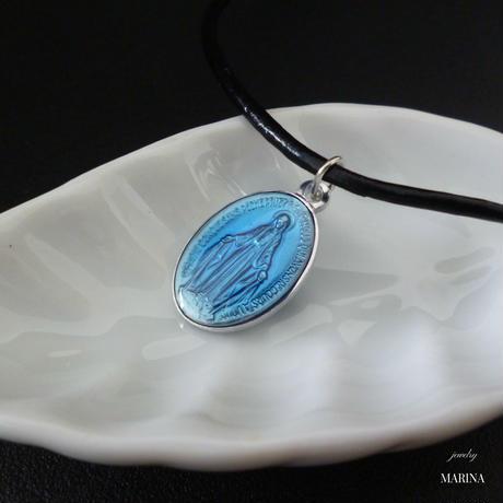 フランス奇跡のメダイのネックレス - blue