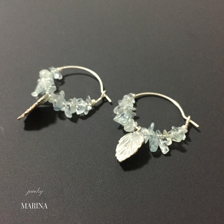 Drop Aquamarine earrings- silver