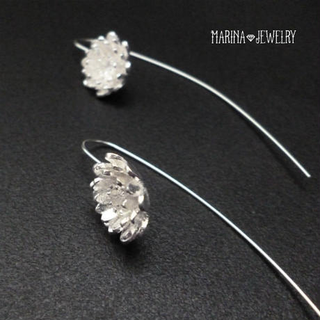 Lotus 蓮の花のピアス - marquis hook silver -
