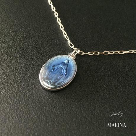 フランス奇跡のメダイのネックレス - blue silver