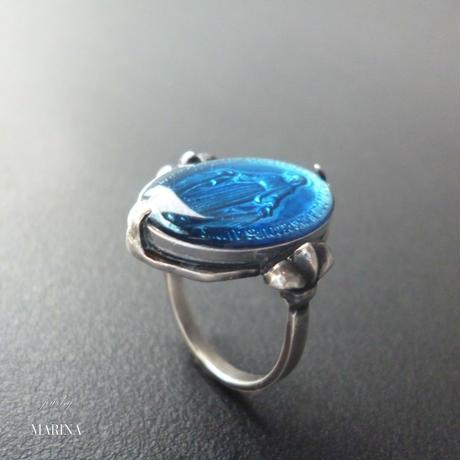 フランス奇跡のメダイのリング - blue