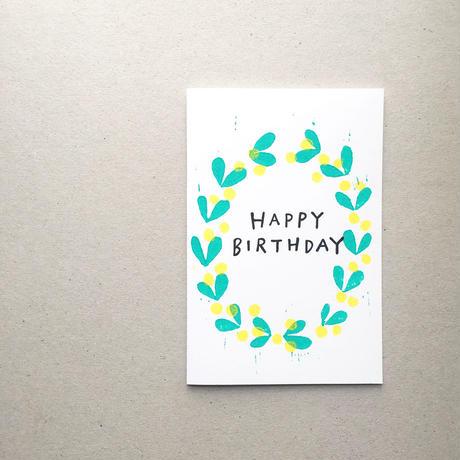 "Postcard ""Happy Birthday""  / Yellow Flowers"
