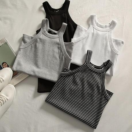 トップス❤ホルターネック 夏の韓国スポーツのベストストレッチノースリーブネックストラップシャツ hdfks961347