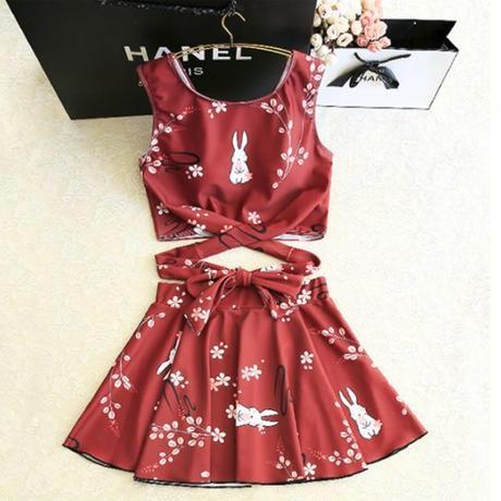 水着❤和風ウサギちゃんいっぱいの可愛いスカート水着!! hdfks961155