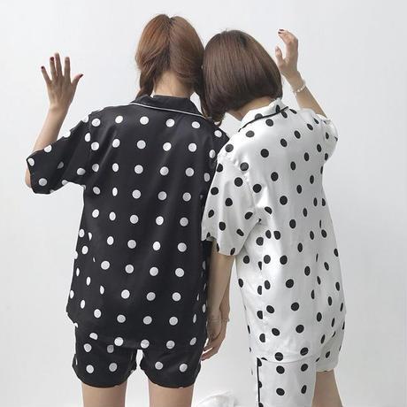 パジャマ❤ドット柄で双子コーデもイケる!写真のようにトップスにしても可愛い韓国パジャマ! hdfks961503